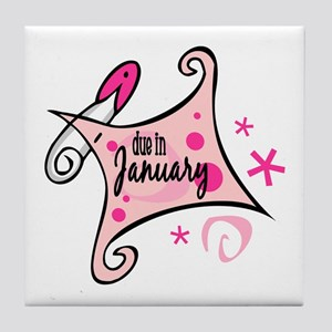 Due in January [Pink] Tile Coaster
